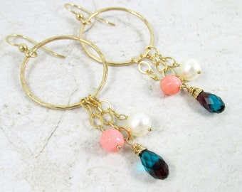 Gold Hoop Earrings, White Pearl, Pink Coral, Blue Swarovski Crystals Wire Wrapped, Gemstones, Elegant Chain Dangle, Gift Idea, Spring Trends