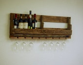 Reclaimed Pallet Wine Rack rustic Oak Walnut Early American Made in USA kitchen decor wine caddy rustic boho bohemian furniture shabby chic