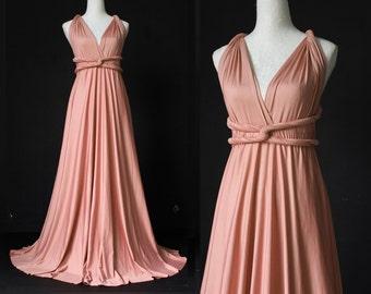 Dusty Pink Bridesmaid Dress Infinity Dress Wrap Formal Dress Jersey Wedding
