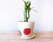 Red Planter. Ceramic Planter. Indoor Planter. Christmas. Planter and Dish Set.
