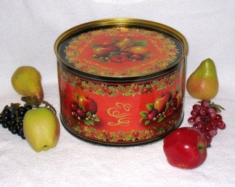 Large Autumn / Harvest Fruit Lidded Tin / Kitchen Storage Container / Gift Giving / Thanksgiving Decor / 10.5 x 6 3/8""