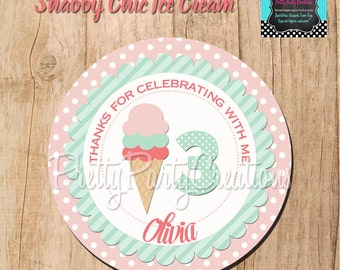 Shabby Chic ICE CREAM favor tags -  You Print