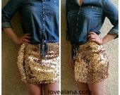 Rosegold Mini Sequin Skirt - Stretchy, beautiful, fun mini skirt (Small, Medium, Large, XLarge) runs small