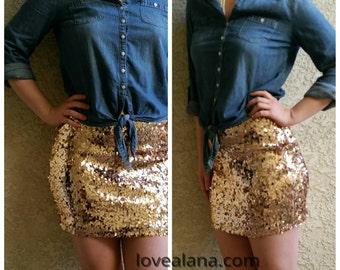 XS/S SALE Rosegold Mini Sequin Skirt - Stretchy, Sparkly and Awesome