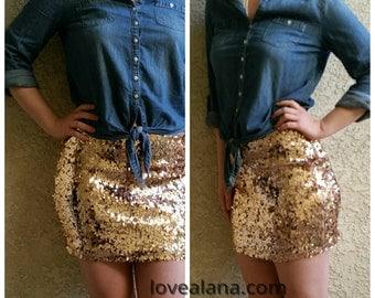 SALE Rosegold Mini Sequin Skirt - Stretchy, beautiful, fun mini skirt (Small, Medium, Large, XLarge) runs small