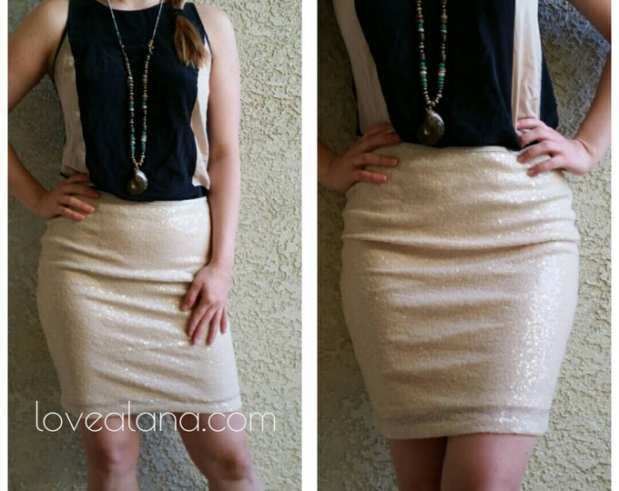 Clearance! Cream Pencil Sequin Skirt 20 inches - Stretchy, beautiful knee length skirt (Small, Medium, Large, XLarge) Ships asap!