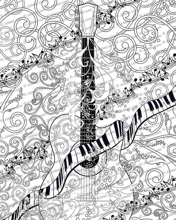 adult coloring page printable adult guitar coloring poster instant download coloring poster - Guitar Coloring Pages