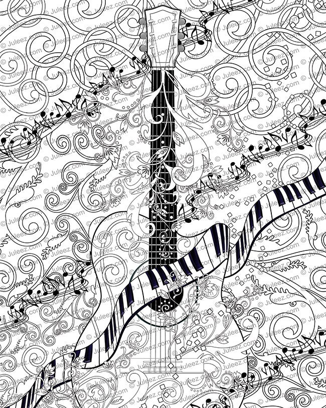 Adult Coloring Page Printable Guitar Poster