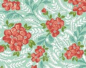 1 Yard Hazel VINTAGE STYLE FLORAL 1940's Aqua Coral Repro Allison Harris of Cluck Cluck Sew Windham Fabric Quilting Sewing