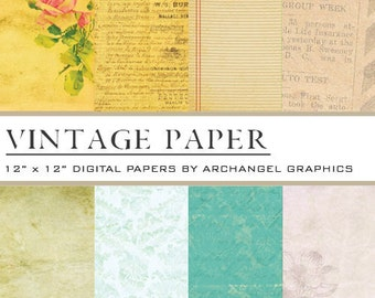 "Vintage Paper Digital Scrapbook Paper Pack - 8 Papers - 300 DPI - 12"" x 12"""