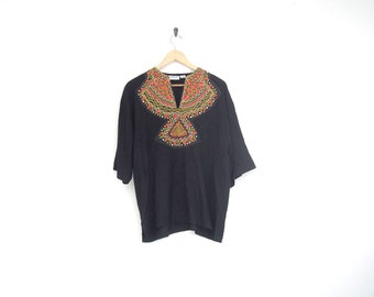90s Shirt. Black Ethnic Blouse with Colorful Embroidered Collar. Geometric Pattern Top. Oversized Shirt. Vintage Indian Caftan Shirt.