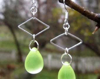 Yellow Sea Glass Teardrop Earrings
