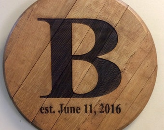 Bourbon Barrel Head Lid Personalized Wedding Reception Anniversary Registry Letter with Established Date Laser Etched