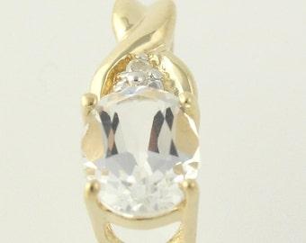 White Topaz and Diamond Pendant - 10k Yellow & White Gold 1.60ctw H8170