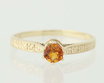 Citrine Solitaire Ring - 10k Yellow Gold Round Cut November Gift .18ct N2422
