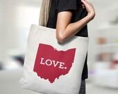 Ohio Tote Bag // Unique Gift Idea // Home State Love // white canvas tote with black inside and handle