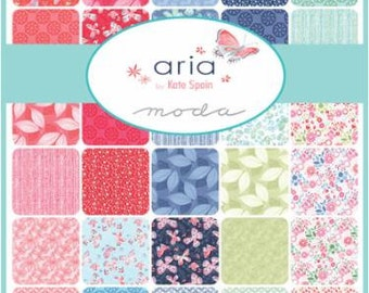 SALE, Aria Charm Pack by Moda's Kate Spain, 42, 5 Inch Squares In Collection, 27230PP