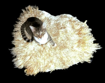 Wool Cat Bed - Felted Fleece Pet Rug - Natural Pet Bed - Primitive Rustic - PolyPay/Gulf Coast Native Cross Lamb - Ready to Ship