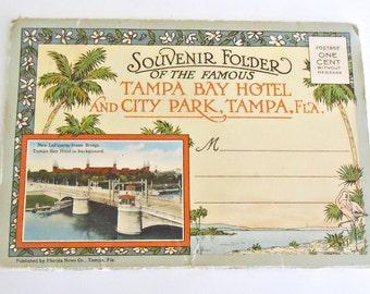 Souvenir Folded Postcard Tampa Florida Tampa Bay Hotel & City Park Postcards 1930's