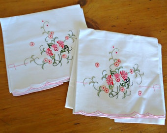 2 Vintage Pillowcases Hand Embroidered Pink Floral Cotton Pillowcases 1950's
