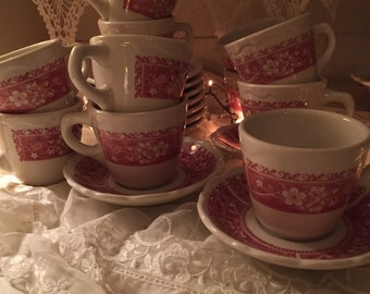 Syracuse pink red Restaurant ware Strawberry Hill Cups Saucers 10 sets available may be unused mint cond