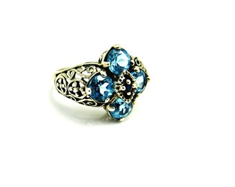 Blue Topaz  Ring Silver Filigree Art Deco Style Ring Sapphire Gemstone Vintage Blue Stone Rings Size 6.5 Six and a Half