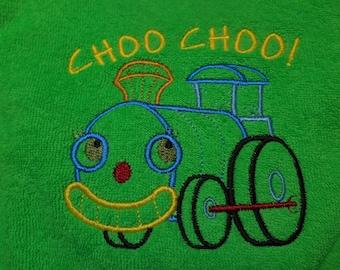 Baby Bib, Choo Choo Train Bib, Embroidered Bib for Babies, Green Bib, Baby Shower, Gift Idea for Baby, Trains, Baby Boy, Baby Girl, Bibs