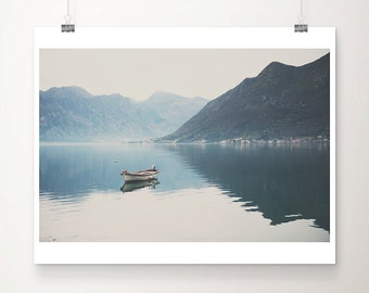 boat photograph mountains photograph lake photograph reflection photograph Bay of Kotor photograph Montenegro photograph boat print