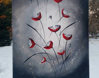 Red Poppies, Abstract Flower Painting, Red White Black, Abstract Flowers, Floral Painting, Original Painting on Canvas, Heather Day 2