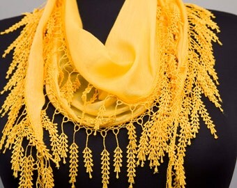Fringed lace scarf ,triangle lace scarf , guipure scarf, flowered ,woman scarf, Plain , yellow