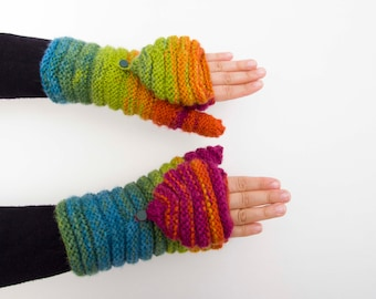 Knitted Convertible Mittens Fingerless gloves in rainbow colors -  COLOR OPTION AVAILABLE
