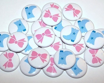 "Boots & Bows Gender Reveal Party Set of 24 Buttons Baby Shower Favor 1"" or 1.5"" or 2.25"" Pin Back Button Pink Blue 1"" Magnets"