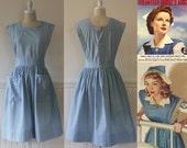 Rare WWII Nurse Aide Uniform --> 1940s --> Vintage Nurse Uniform --> Denim 1940s Dress --> 1940 Dress --> Vintage Denim Dress --> 40s Dress