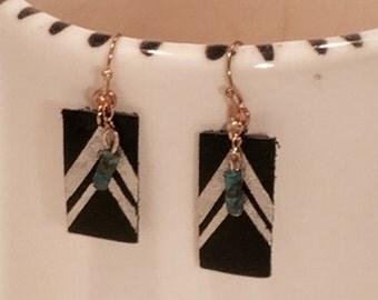 Black Leather Dangle Earrings