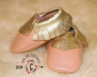 SALE Wow!  Gold Topped Apricot Moccasins 100% genuine leather baby moccasins Mocs moccs