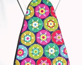 Ironing Board Cover - Blue, red, yellow, pink and green floral Fabric - Laundry and Housewares