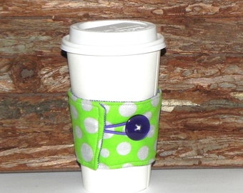 Fabric Coffee Cozy Sleeve - Reusable insulated Tea Cozy-Hot or Cold drink - Polka dots in apple green, silver and purple