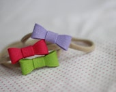 "Felt Mini ""Avery"" Bow on Nude Nylon Headband - Set of 3 - Granny Smith 