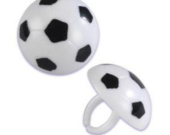 Soccer Cupcake Topper Rings, 12 Soccer Ball Cupcake Toppers, Cupcake Rings, Party Favors, Plastic Charms, World Cup, Premier League
