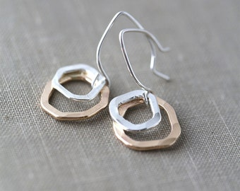 Freeform Silver & Gold Earrings - Gift for Her - Bridesmaid Gift - Gift Women - Gift for Women - Modern Minimal Jewelry