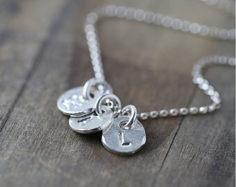 Silver Monogram Necklace / Initials Hand Stamped Charms Coin Discs  / Sterling Silver Personalized Necklace