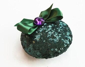 Bridal Reception Cocktail Party Hat Jade Green Sequin Wedding Fascinator Sparkle Pillbox Hair Fascinator, Alternative Modern Wedding, Unique