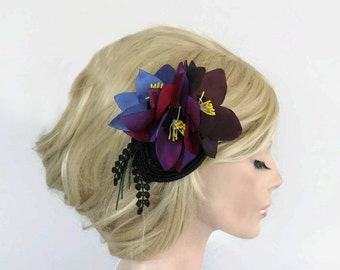 Wedding Hair Fascinator, Bridal Floral Headpiece, Cocktail Party Hat, Rustic Headdress Purple Anemone Flowers, Modern Romantic Wedding OOAK
