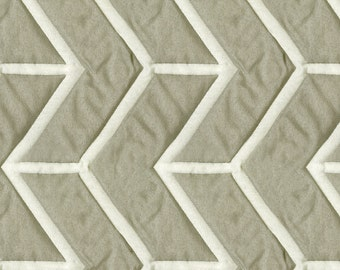 Lightly Quilted Washable Transitional Bedding Fabric - Slight Sheen - Reversible Contrast - Pattern: Wingtip Driftwood - per yard