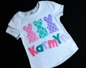 Bunnies in a row Girl, baby, toddler, tween shirt with 3  Easter bunnies personalized name applique lattice pink, turquoise, purple NB - 16