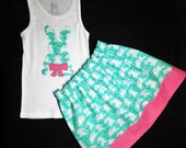 2 piece New Easter sparkle bunny applique tank / shirt and turquoise blue glitter skirt, pink polka dot - for baby, girls, toddler, tween