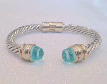 Silver Tone and Blue Clamper Bracelet