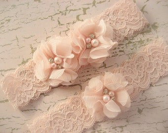 Wedding Garter,  Blush Garter, Blush Garter Belt Set with Toss Garter in Blush,  Bridal Garter Lace Garter with Chiffon Blossoms pearls