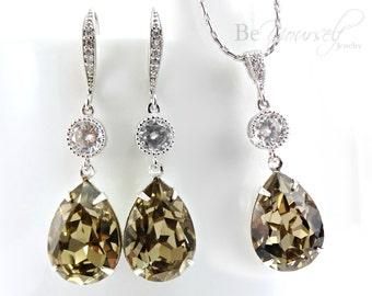 Mocha Bridal Earrings Taupe Teardrop Bride Necklace Wedding Jewelry Swarovski Crystal Greige Wedding Earrings Beige Brown Bridesmaid Gift