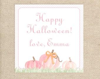 Digital Pink Pumpkin Tags